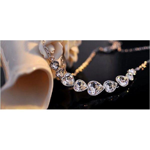 K18 スワロフスキー繋がりハート彩石ネックレスホワイトゴールドRGP|jewelrysanmi|06