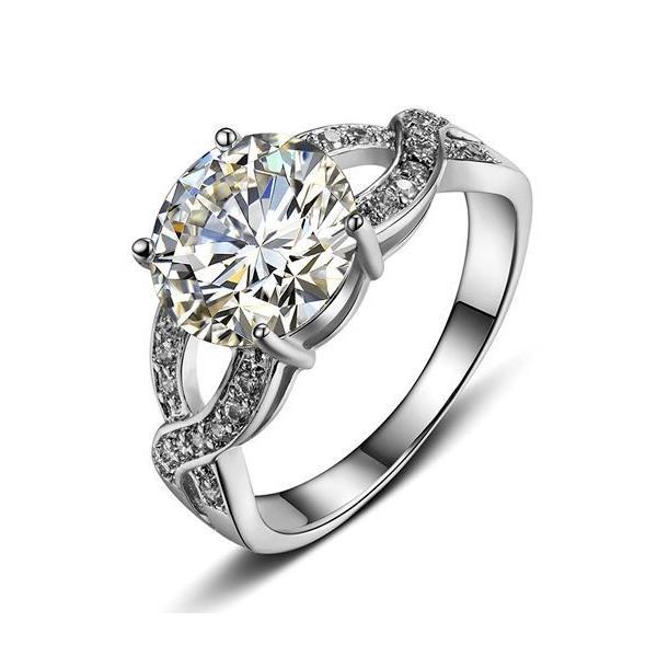 指輪 リング K18 煌きジュエリー 本物の輝き ダイヤモンドCZ彩石リング ホワイトゴールドK18RGP jewelrysanmi