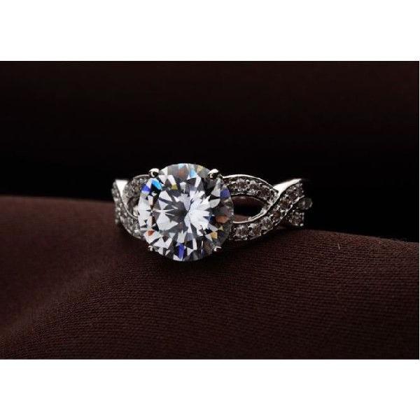 指輪 リング K18 煌きジュエリー 本物の輝き ダイヤモンドCZ彩石リング ホワイトゴールドK18RGP jewelrysanmi 02