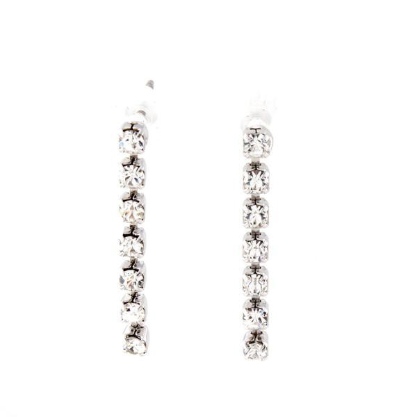 イヤリング ピアス 7石 ラインストーン ダイヤレーン キラキラ 送料無料 日本製