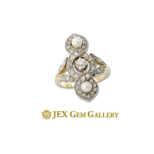 K18/WGパール ダイヤモンドリング (No.43785)|jex-gem-gallery|01