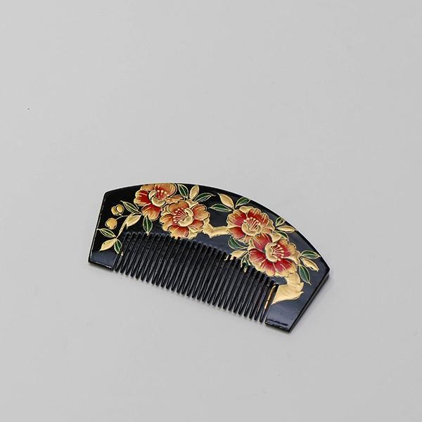 振袖  成人式 櫛かんざし 黒・花柄|jfloom