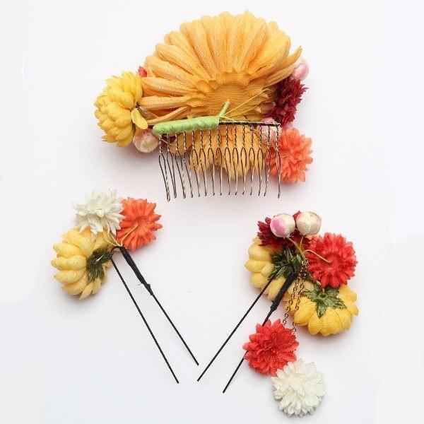 成人式 振袖 髪飾り 丸菊 小花 イエロー KimonoWalker JJカタログ掲載商品|jfloom|05
