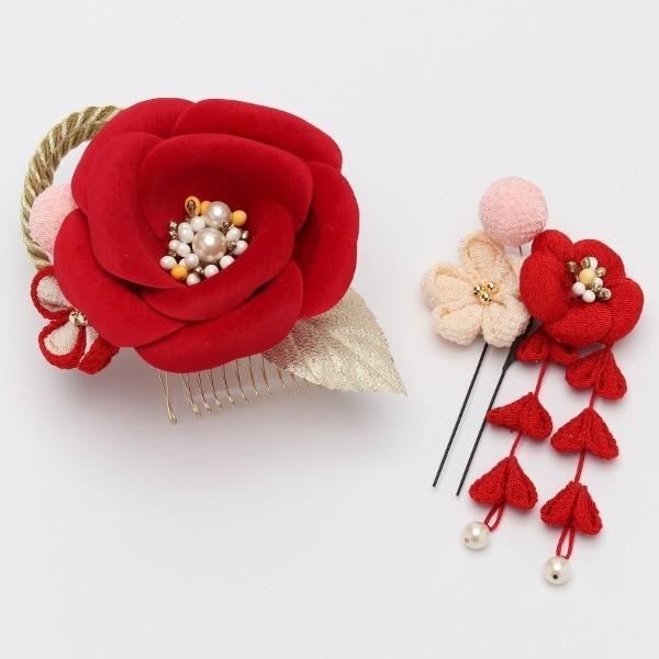 成人式 振袖 髪飾り 椿 レトロ 赤 KimonoWalker Scawaii Ray minaカタログ掲載商品 jfloom 02