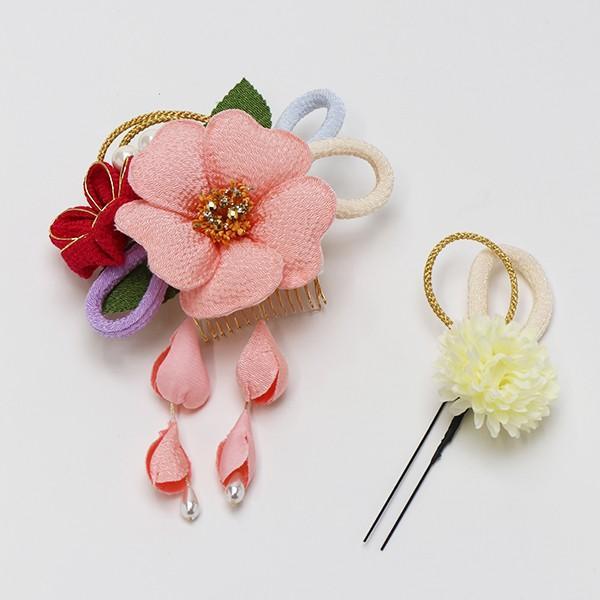成人式 髪飾り 振袖 髪飾り 椿 ちりめん組紐 ピンク nonno掲載商品|jfloom|02