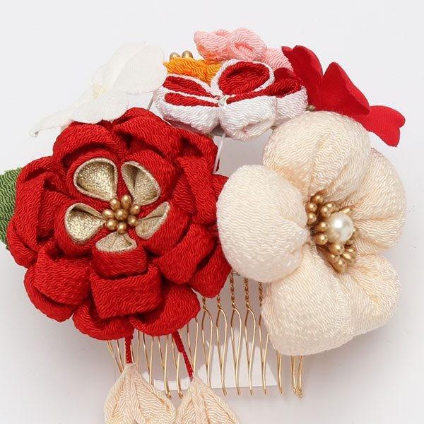 振袖 髪飾り 成人式 小菊 ぷっくりちりめん コームセット 赤 jfloom 04