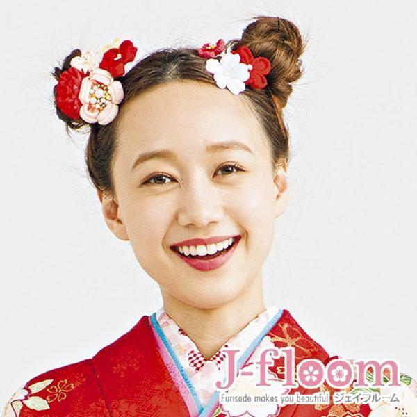 振袖 髪飾り 成人式 小菊 ぷっくりちりめん コームセット 赤 jfloom 05