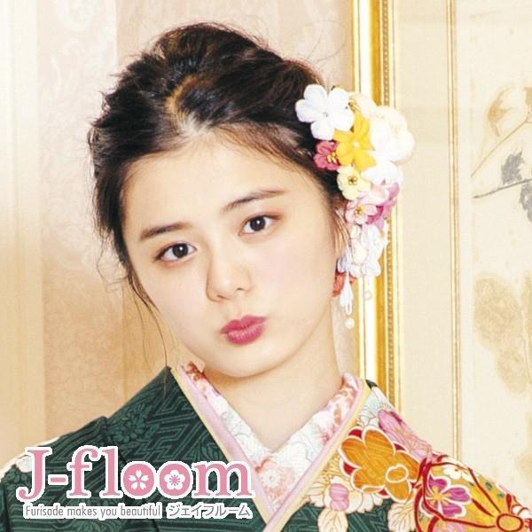 振袖 髪飾り 成人式 小菊 ぷっくりちりめん コームセット 白|jfloom|05