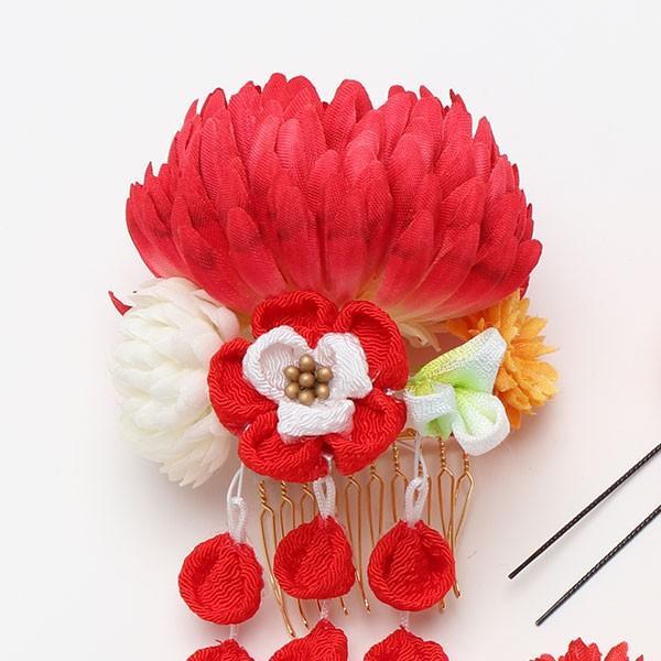振袖 髪飾り 成人式 髪飾り 菊コーム 藤下がり 赤|jfloom|03