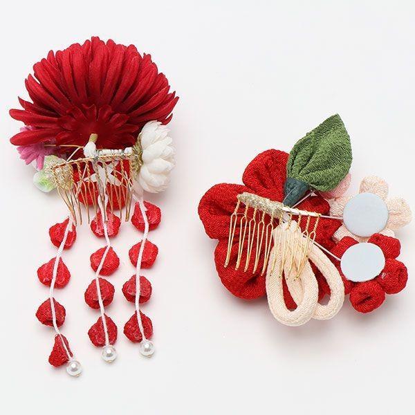 振袖 髪飾り 成人式 髪飾り 菊コーム ちりめん丸花 赤|jfloom|03