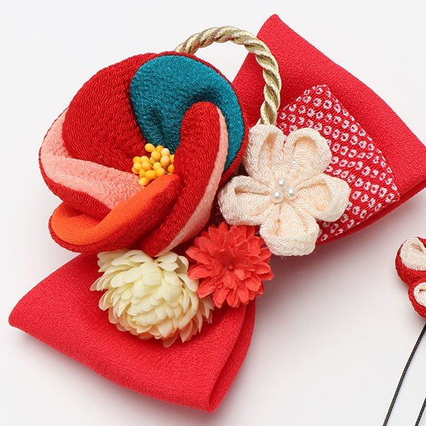 振袖 髪飾り 成人式 髪飾り 椿 レトロリボン 赤 jfloom 04
