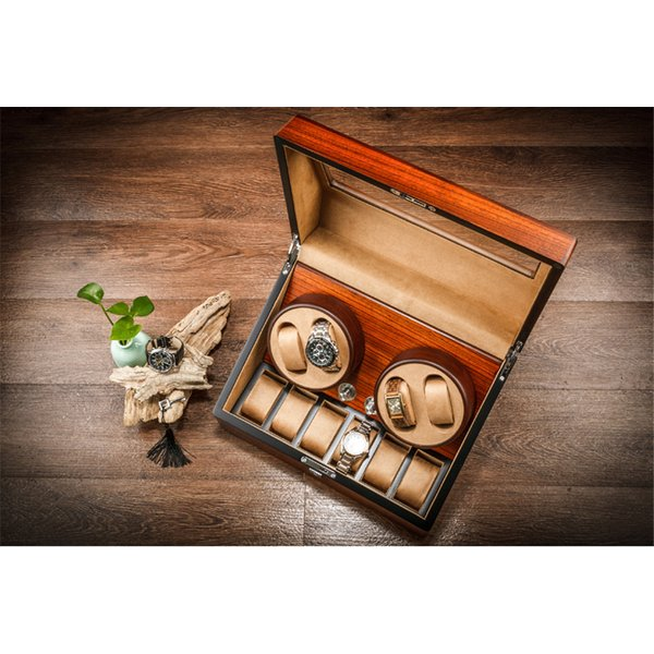 超静音 ワインディングマシーン高級木製時計自動巻き上げ機 ワインディングマシーンWW2424本巻き10本収納ウォッチワインダー日