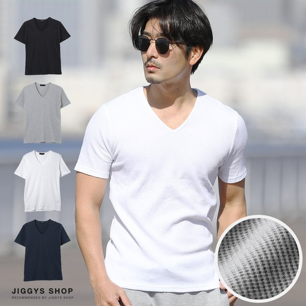 Tシャツメンズトップスカットソー半袖Tシャツ無地ワッフルTクルーネックVネックヘンリーネック