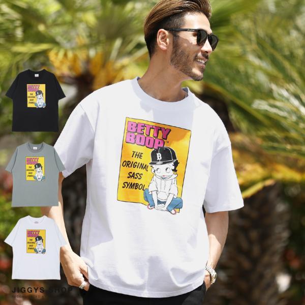 BettyBoopベティブープTシャツメンズトップスカットソー半袖Tシャツボックスプリントクルーネック綿100%夏夏服