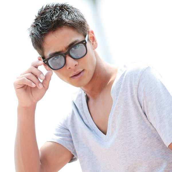 サングラス メンズ メガネ 眼鏡 アイウェア UVカット ケース付き 春 秋 冬 冬服 送料無料 / スクエアカラーレンズメガネ|jiggys-shop|02