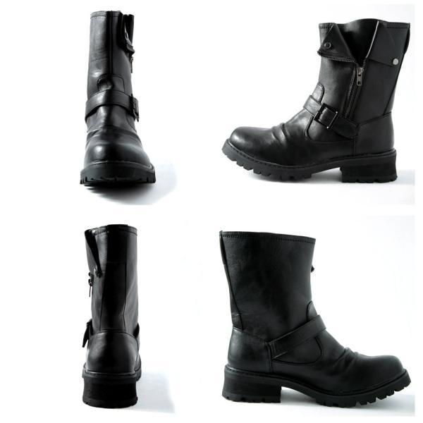 ライダースブーツ メンズ エンジニアブーツ PUレザー サイドジップ シューズ 靴 送料無料|jiggys-shop|05