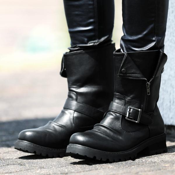 ライダースブーツ メンズ エンジニアブーツ PUレザー サイドジップ シューズ 靴 送料無料|jiggys-shop|06