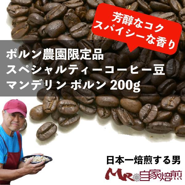 スペシャルティーコーヒー豆ドリップ自家焙煎マンデリンポルン200g