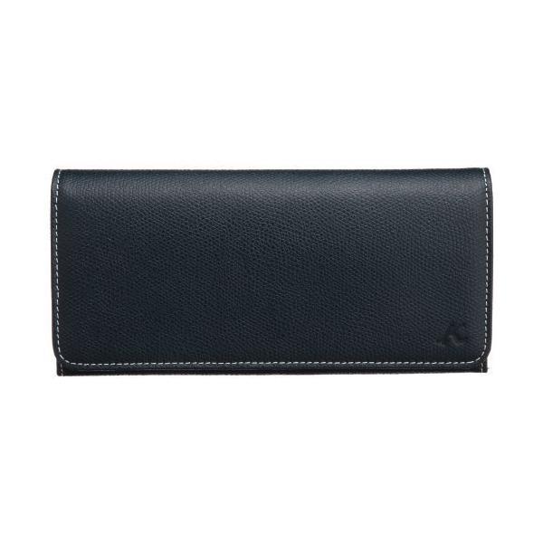キタムラ 長財布キズが目立ちにくい型押しPH0450ダークブルー/アイボリーステッチ 紺 10911