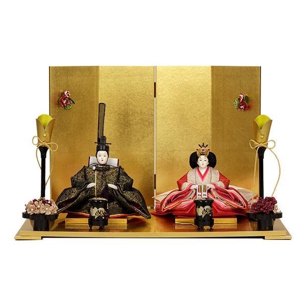 雛人形 コンパクト 小さい ひな人形 お雛様 初節句飾り お祝い 親王飾り 2人 平飾り 46t|jinya2-hina