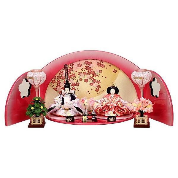 雛人形 ピンク コンパクト ひな人形 お雛様 初節句飾り お祝い 親王飾り 2人 平飾り 46t|jinya2-hina