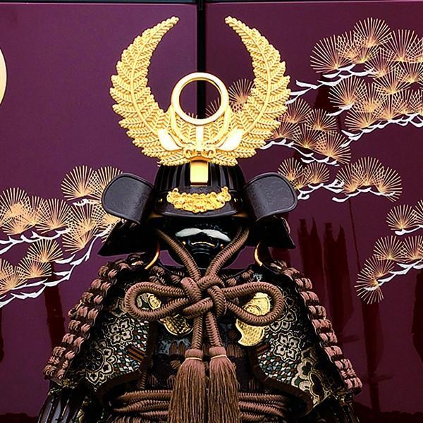 五月人形 鎧飾り 7号 伊予小札 徳川家康 鎧二曲飾り 小豆色 yoroi60-69 5月人形|jinya2-hina|02