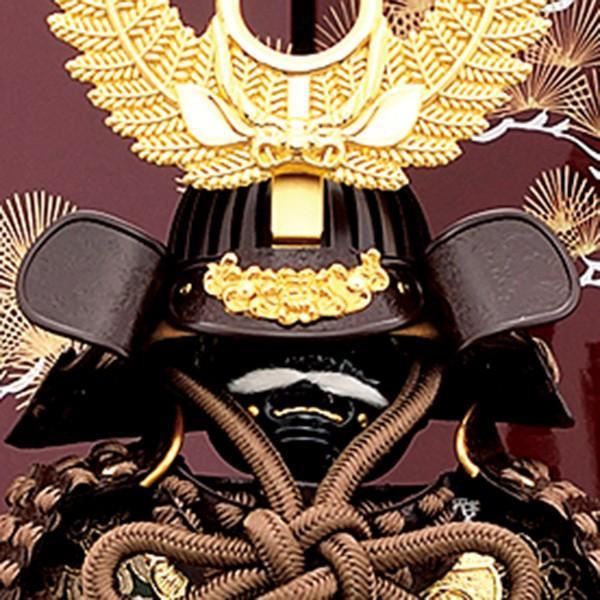 五月人形 鎧飾り 7号 伊予小札 徳川家康 鎧二曲飾り 小豆色 yoroi60-69 5月人形|jinya2-hina|03