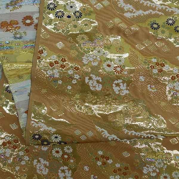 金襴生地 金襴の布 ピンクに菊柄|jinya2-hina