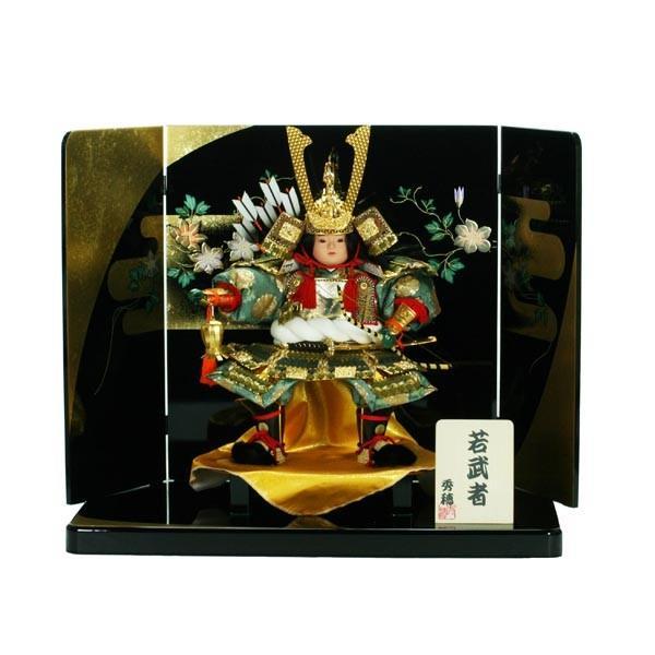 五月人形 大将飾り 子供大将 コンパクト 初節句飾り 端午の節句飾り人形 蒔絵屏風 jinya