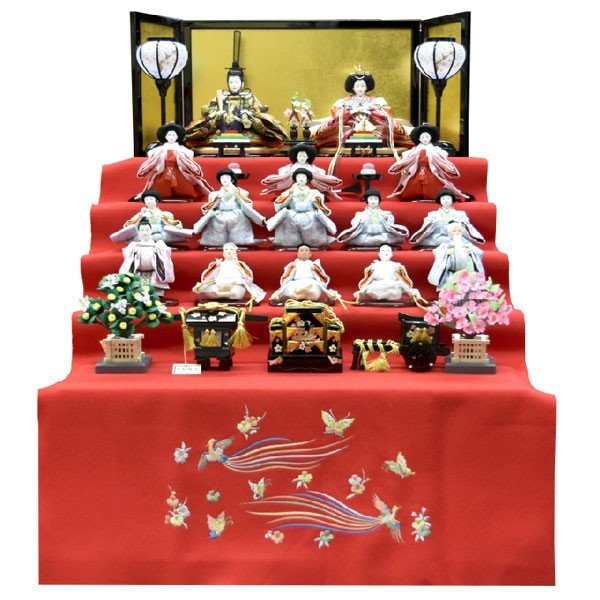 雛人形 コンパクト ひな人形 五段飾り 十五人 15人飾り 5段 ミニひな人形|jinya