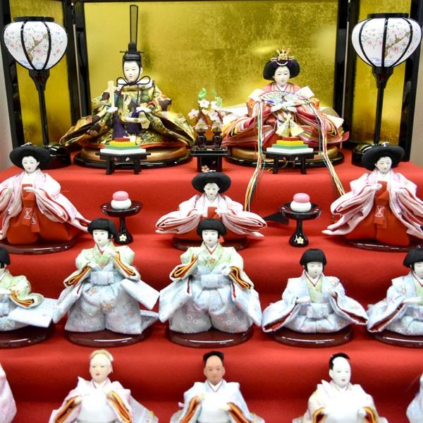 雛人形 コンパクト ひな人形 五段飾り 十五人 15人飾り 5段 ミニひな人形|jinya|05