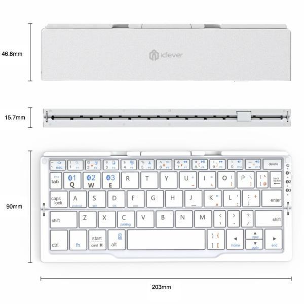 キーボード 【送料無料 12ヶ月保証】ワイヤレス 折り畳み式  ミニキーボード Windows Android iOS Mac 対応 iClever Bluetoothキーボード IC-BK11(シルバー)|jittenshop|07