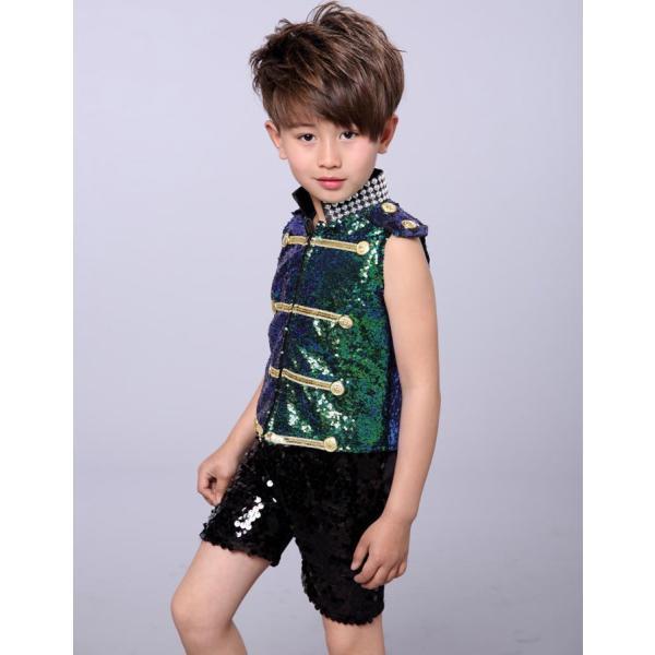 ダンス衣装 スパンコール ワンピース ダンス衣装 ヒップホップ hiphop スパンコール  ダンス衣装  子供 セットアップ キッズ ジャケット 女の子 男の子|jj-shop|06