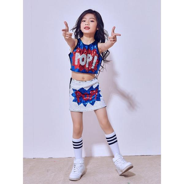 「3800→3500」セール チアガール 衣装 スパンコール ダンス衣装 ヒップホップ ステージ 衣装 ジャズダンス衣装 子供 女の子 チア ダンス衣装 ヒップホップ|jj-shop|02