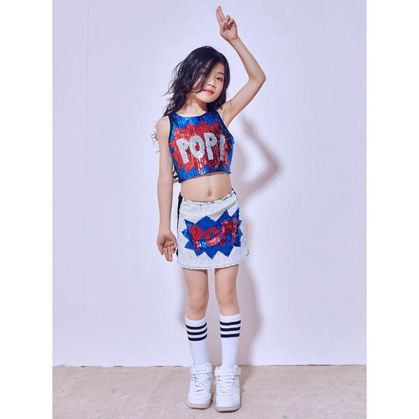 「3800→3500」セール チアガール 衣装 スパンコール ダンス衣装 ヒップホップ ステージ 衣装 ジャズダンス衣装 子供 女の子 チア ダンス衣装 ヒップホップ|jj-shop|03