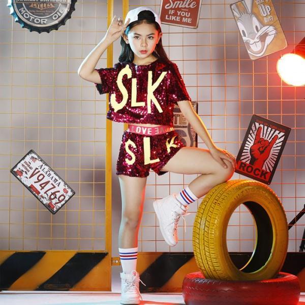 新作 ダンス 衣装 スパンコール ヒップホップ キッズ ダンス 衣装 ジャズダンス ステージ衣装 キラキラ セットアップ ガールズ トップス パンツ 上下セット jj-shop