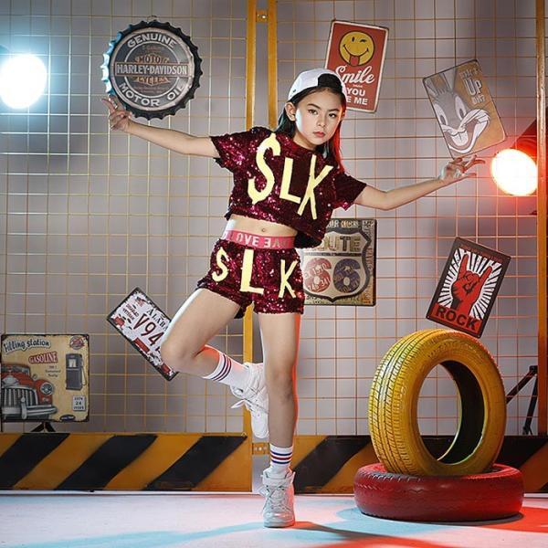 新作 ダンス 衣装 スパンコール ヒップホップ キッズ ダンス 衣装 ジャズダンス ステージ衣装 キラキラ セットアップ ガールズ トップス パンツ 上下セット jj-shop 02