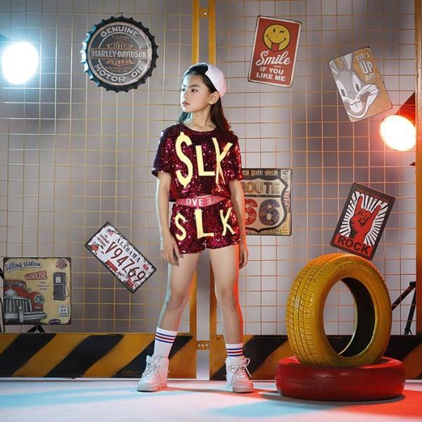 新作 ダンス 衣装 スパンコール ヒップホップ キッズ ダンス 衣装 ジャズダンス ステージ衣装 キラキラ セットアップ ガールズ トップス パンツ 上下セット jj-shop 03