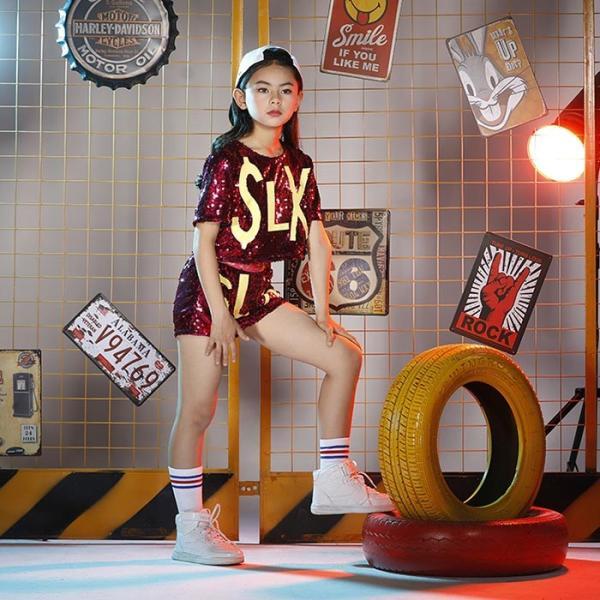 新作 ダンス 衣装 スパンコール ヒップホップ キッズ ダンス 衣装 ジャズダンス ステージ衣装 キラキラ セットアップ ガールズ トップス パンツ 上下セット jj-shop 04