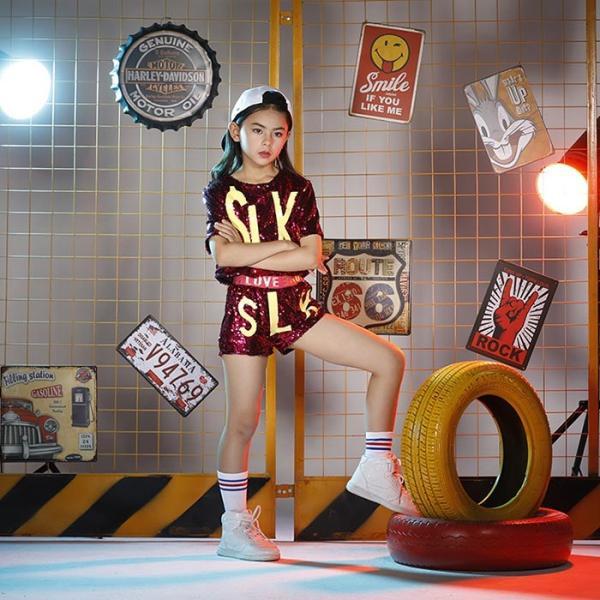 新作 ダンス 衣装 スパンコール ヒップホップ キッズ ダンス 衣装 ジャズダンス ステージ衣装 キラキラ セットアップ ガールズ トップス パンツ 上下セット jj-shop 05