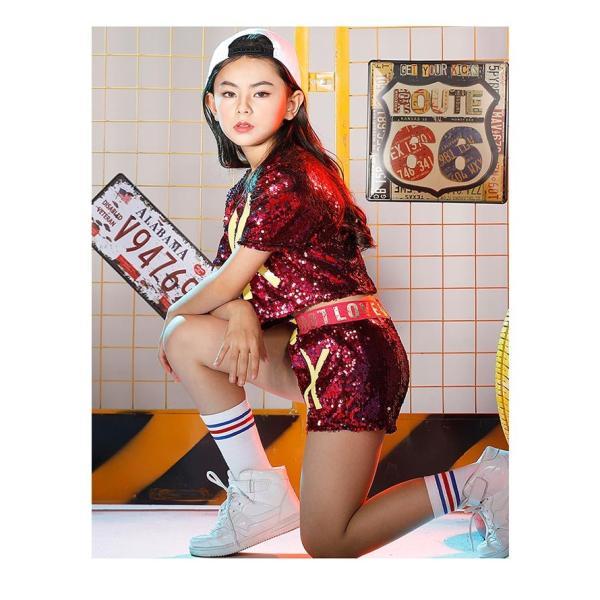 新作 ダンス 衣装 スパンコール ヒップホップ キッズ ダンス 衣装 ジャズダンス ステージ衣装 キラキラ セットアップ ガールズ トップス パンツ 上下セット jj-shop 06