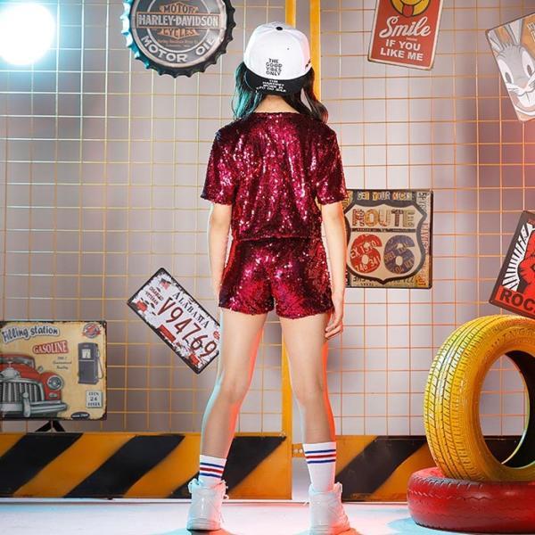 新作 ダンス 衣装 スパンコール ヒップホップ キッズ ダンス 衣装 ジャズダンス ステージ衣装 キラキラ セットアップ ガールズ トップス パンツ 上下セット jj-shop 07