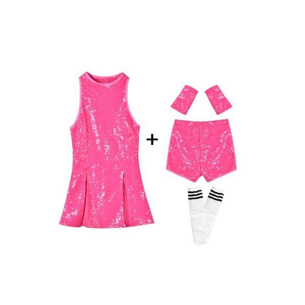 「3600→3200」セール ダンス 衣装 スパンコール ヒップホップ キッズ  ジャズダンス ステージ衣装 セットアップ ハイソックス キッズ ダンス チア ユニフォーム|jj-shop|11