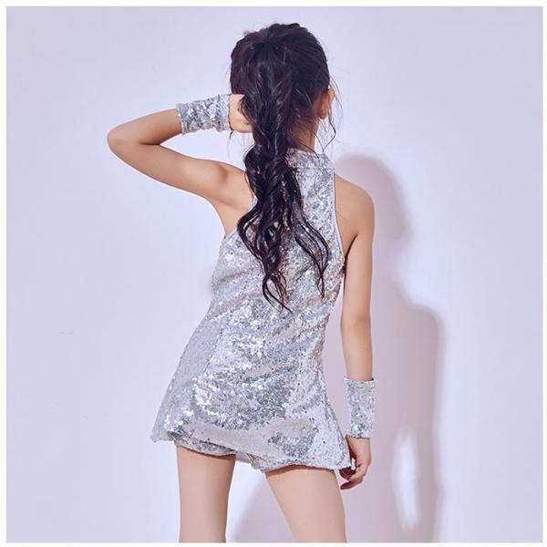 「3600→3200」セール ダンス 衣装 スパンコール ヒップホップ キッズ  ジャズダンス ステージ衣装 セットアップ ハイソックス キッズ ダンス チア ユニフォーム|jj-shop|05