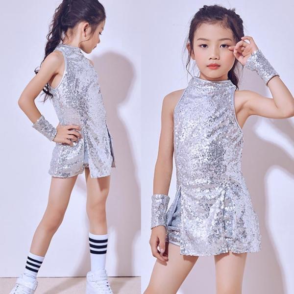 「3600→3200」セール ダンス 衣装 スパンコール ヒップホップ キッズ  ジャズダンス ステージ衣装 セットアップ ハイソックス キッズ ダンス チア ユニフォーム|jj-shop|06