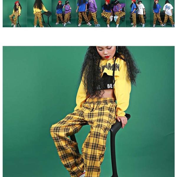 安い セール キッズ ダンス衣装 ヒップホップ キッズダンス ヒップホップ衣装 キッズ ダンス 衣装 ボトムス ギンガムチェック 黄色 イエロー jj-shop 02