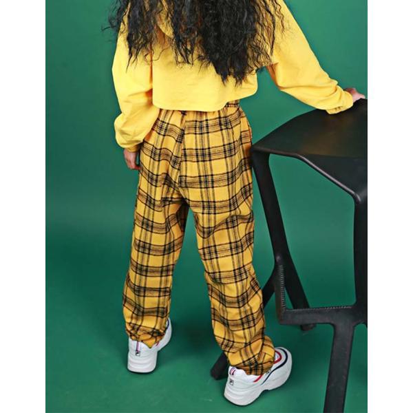 安い セール キッズ ダンス衣装 ヒップホップ キッズダンス ヒップホップ衣装 キッズ ダンス 衣装 ボトムス ギンガムチェック 黄色 イエロー jj-shop 08