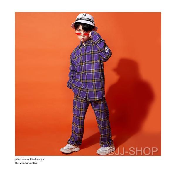 ヒップホップダンス衣装 トップス HIPHOP ダンス 衣装 キッズ ジャケット 原宿系 チェックパンツ ジャズダンス衣装 練習着 体操服 チェック柄 シャツ jj-shop 04