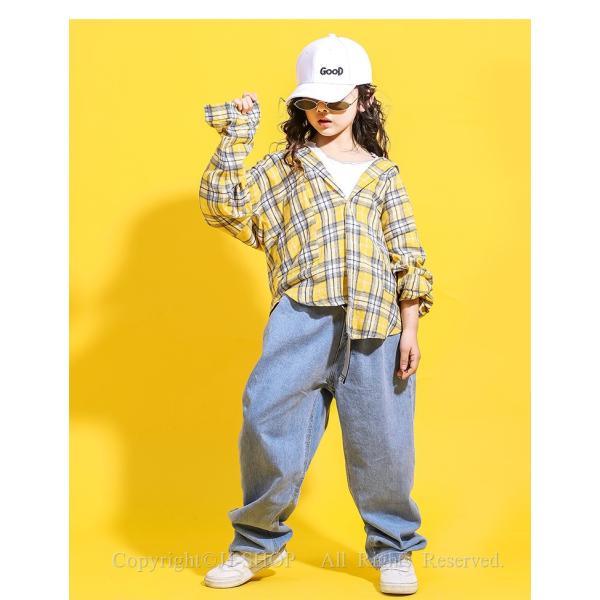 チェック柄 ダンスシャツ デニムパンツ キッズ ダンス衣装 ヒップホップ HIPHOP 子供 セットアップ ジャズダンス衣装 演出服 練習着 ステージ衣装 体操服 jj-shop 04