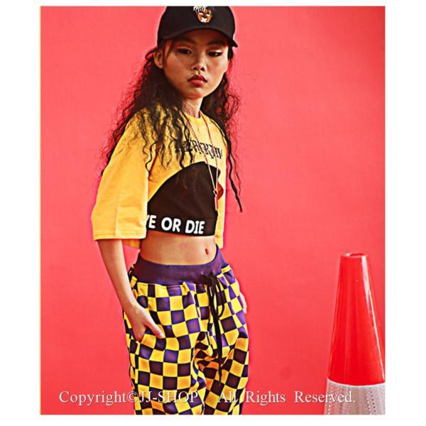チェック柄パンツ ダンス 衣装 ヒップホップ  キッズ ジャズダンス衣装 トップス サルエルパンツ タンクトップ HIPHOP ダンス衣装 セットアップ|jj-shop|05